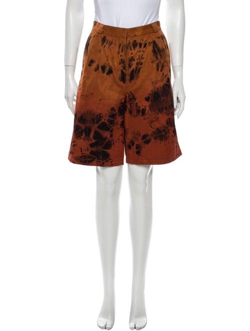 Occhii Tie-Dye Print Knee-Length Shorts Orange