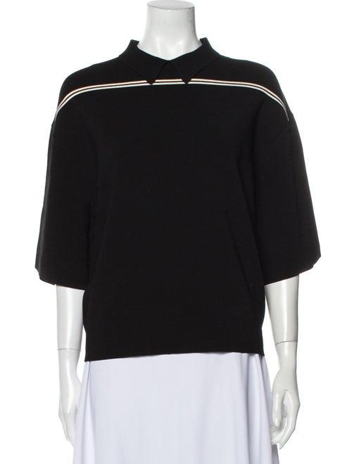 Occhii Mock Neck Short Sleeve Sweatshirt Black