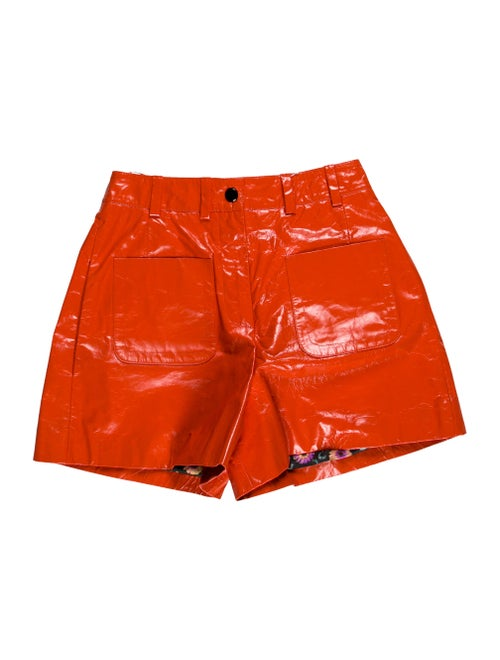Olivier Theyskens Leather Mini Shorts Orange