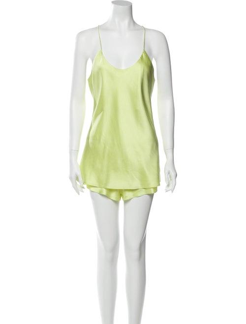 Olivia von Halle Silk Pajamas Yellow