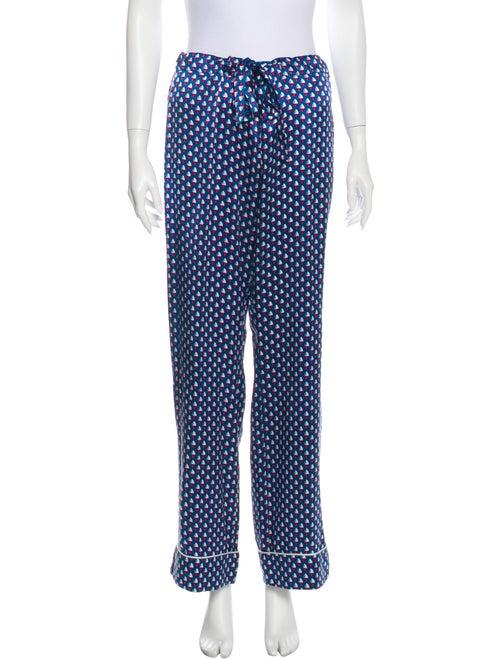 Olivia von Halle Silk Printed Pajamas Blue