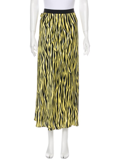 Olivia von Halle Silk Midi Length Skirt Yellow