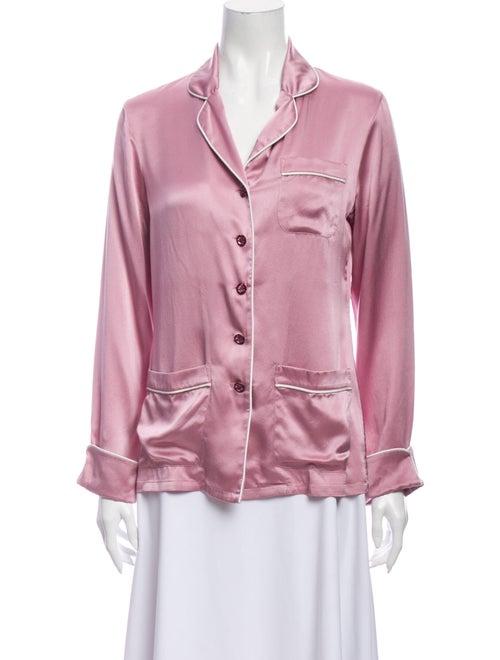 Olivia von Halle Long Sleeve Button-Up Top Purple