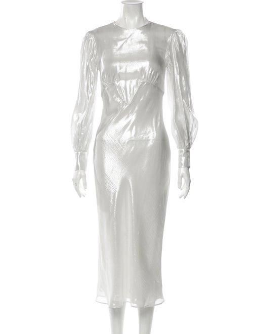 Olivia von Halle Silk Midi Length Dress Silver