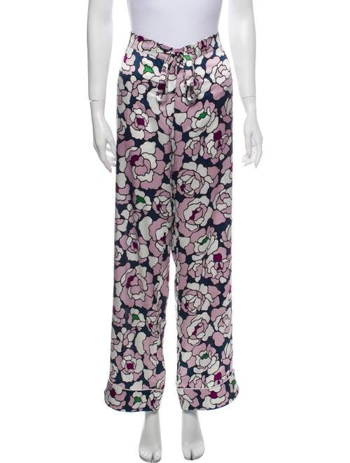 Olivia von Halle Silk Printed Pajamas Purple