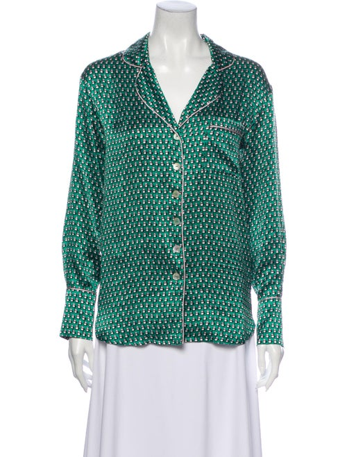 Olivia von Halle Silk Printed Pajamas Green