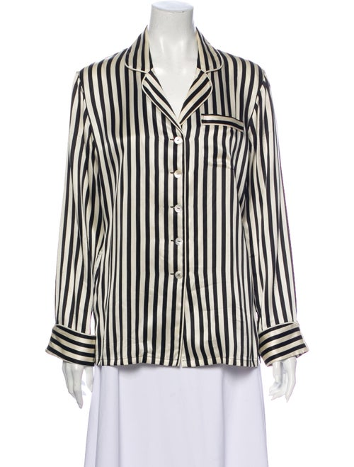Olivia von Halle Silk Striped Pajamas White