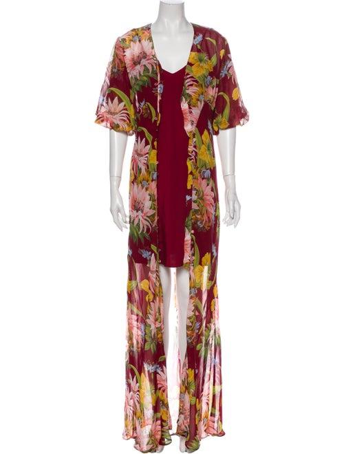 Olivia von Halle Floral Print Long Dress