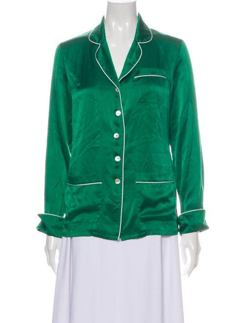 Olivia von Halle Silk Long Sleeve Button-Up Top Gr