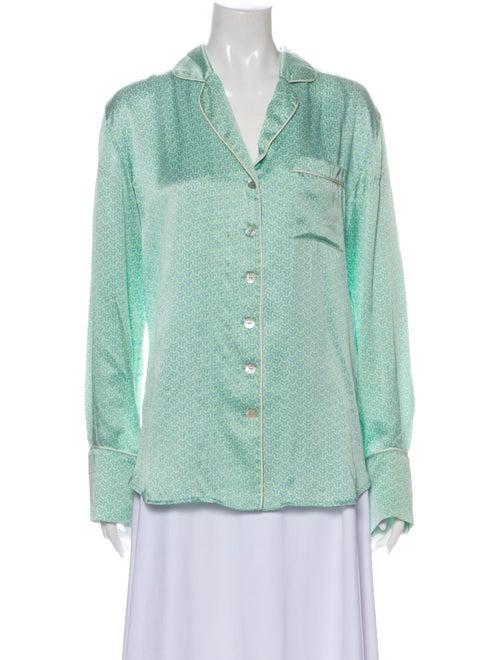 Olivia von Halle Printed Pajamas Green
