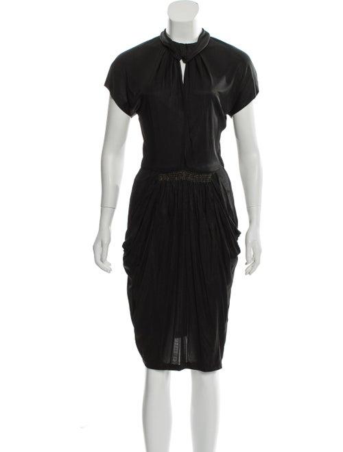 OMO Norma Kamali Metallic Knee-Length Dress Black