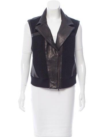 Ohne Titel Leather-Paneled Moto Vest None