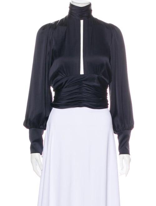 Orseund Iris Mock Neck Long Sleeve Crop Top Blue