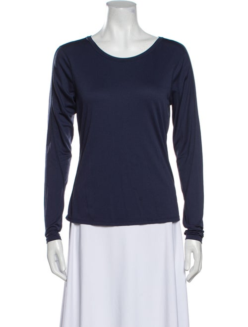 Outdoor Voices Scoop Neck Long Sleeve T-Shirt Blue - image 1