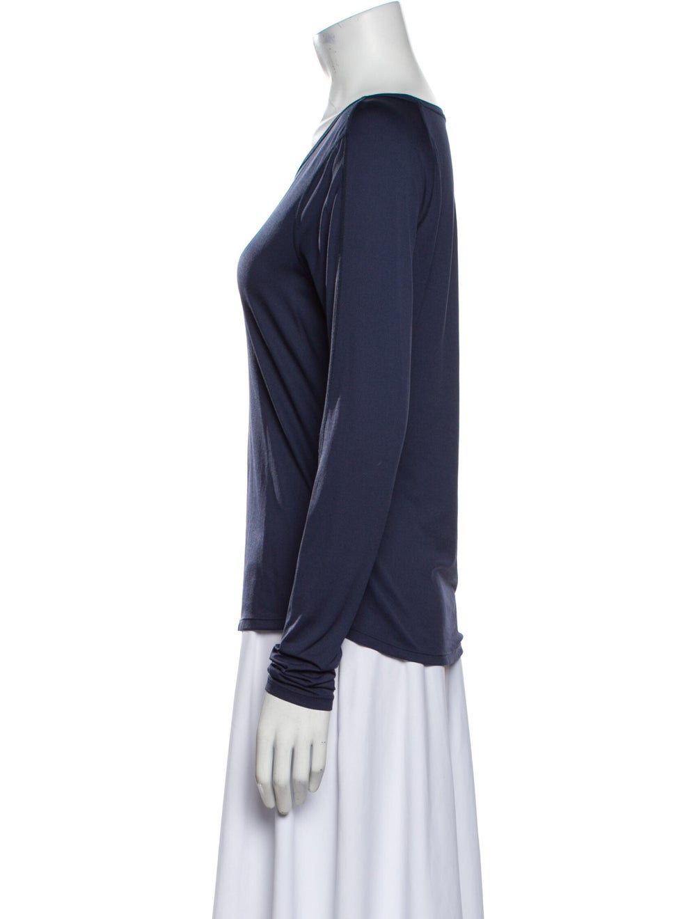 Outdoor Voices Scoop Neck Long Sleeve T-Shirt Blue - image 2