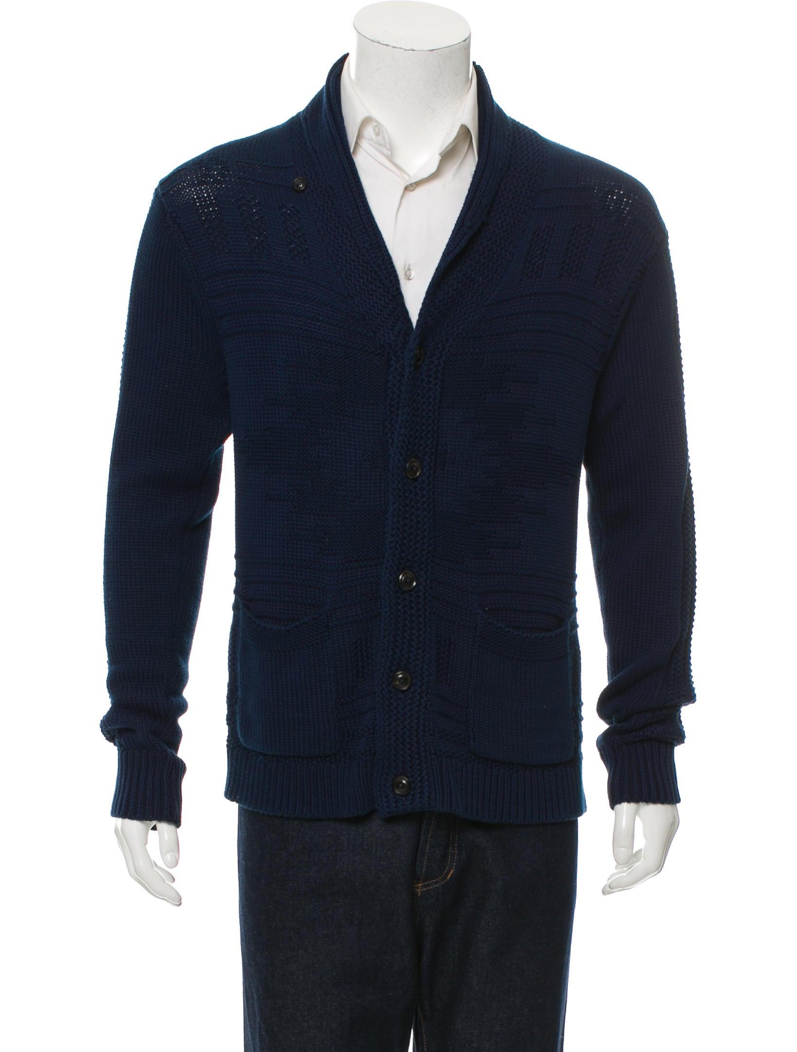 Knitting Cardigan Collar : Ovadia sons patterned knit shawl collar cardigan