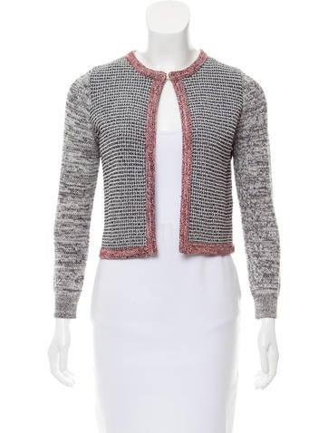 Paule Ka Tweed Collarless Cardigan None