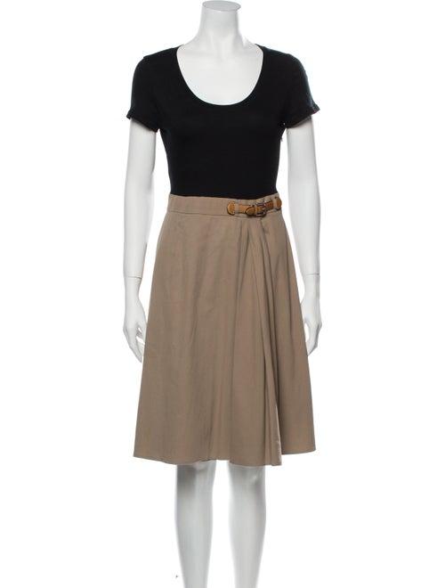 Paule Ka Colorblock Pattern Knee-Length Dress