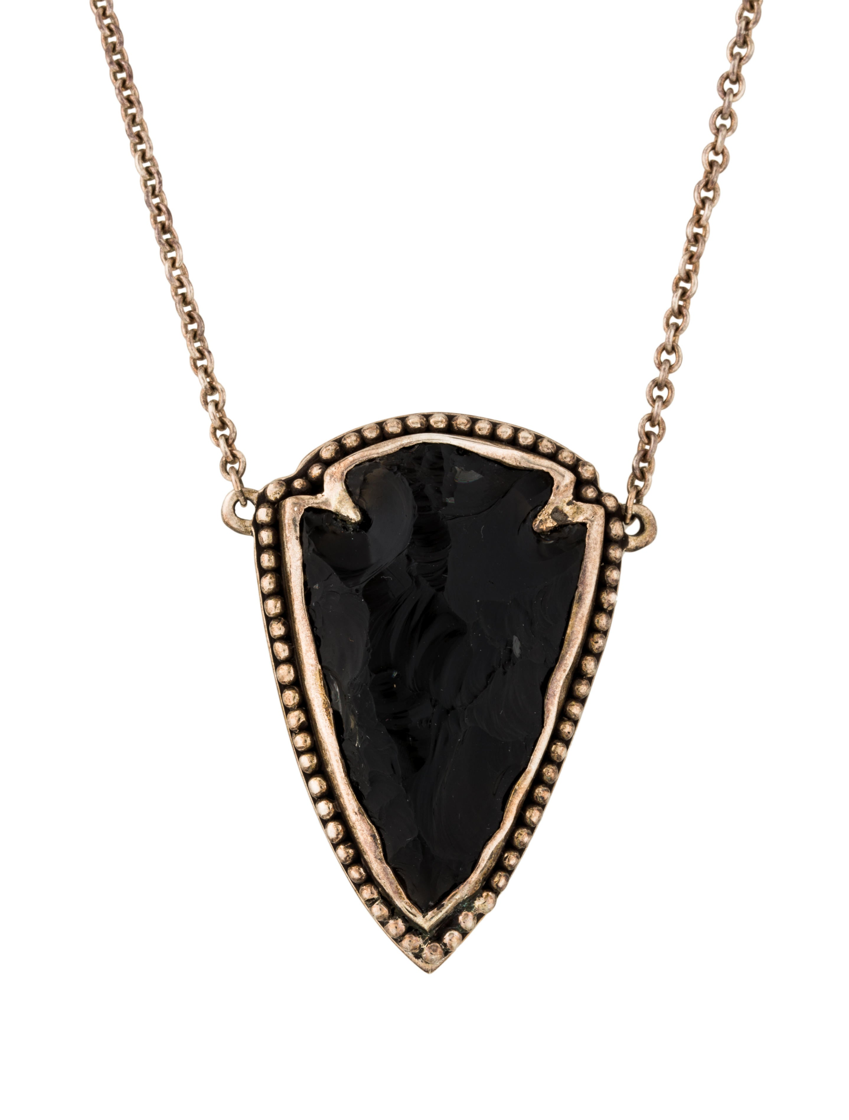 Pamela love obsidian arrowhead pendant necklace for Pamela love jewelry designer