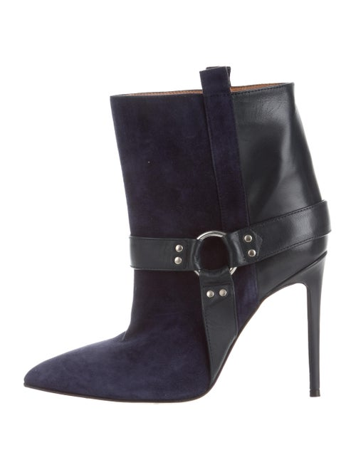 Paris Texas Suede & Leather Ankle Boots Navy