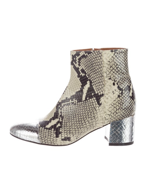 Paris Texas Snakeskin Round-Toe Ankle Boots multic