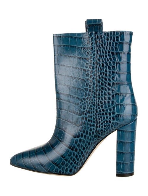 Paris Texas Embossed Leather Ankle Boots Blue