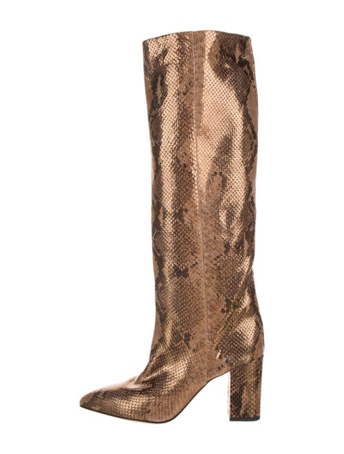 Paris Texas Leather Animal Print Boots Gold