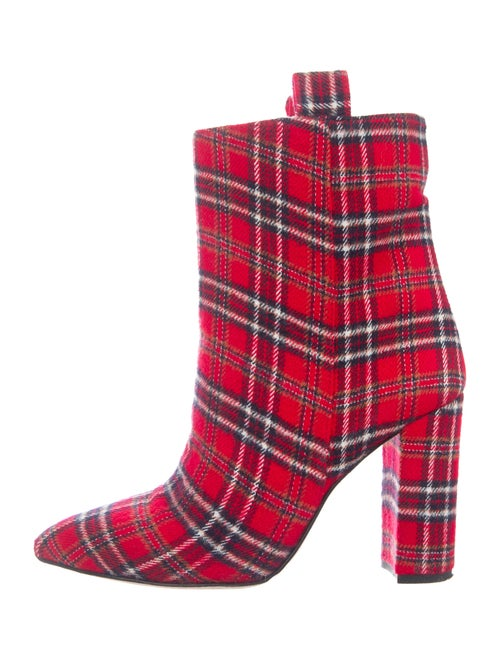 Paris Texas Plaid Print Boots Red