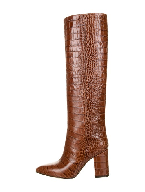 Paris Texas Leather Animal Print Boots Brown