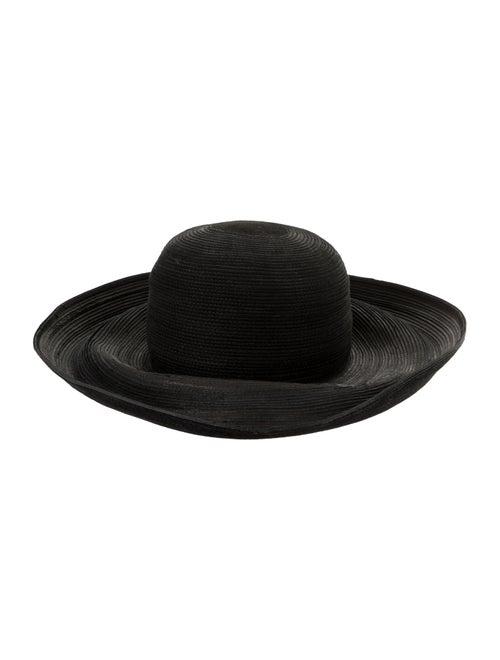 Patricia Underwood Straw Wide Brim Hat Black