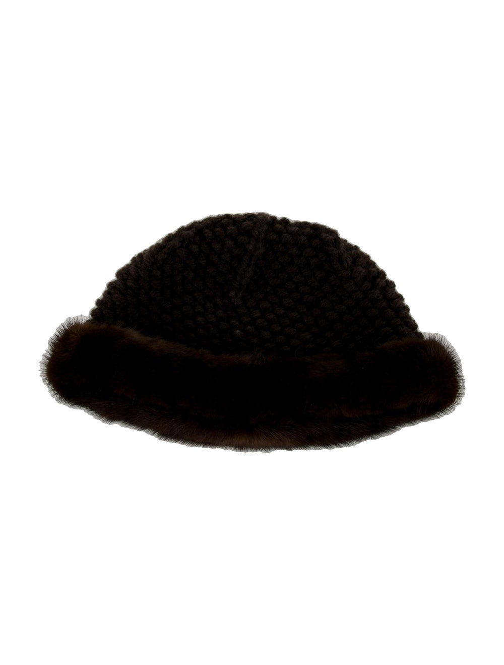 Patricia Underwood Knitted Mink Hat Brown - image 1