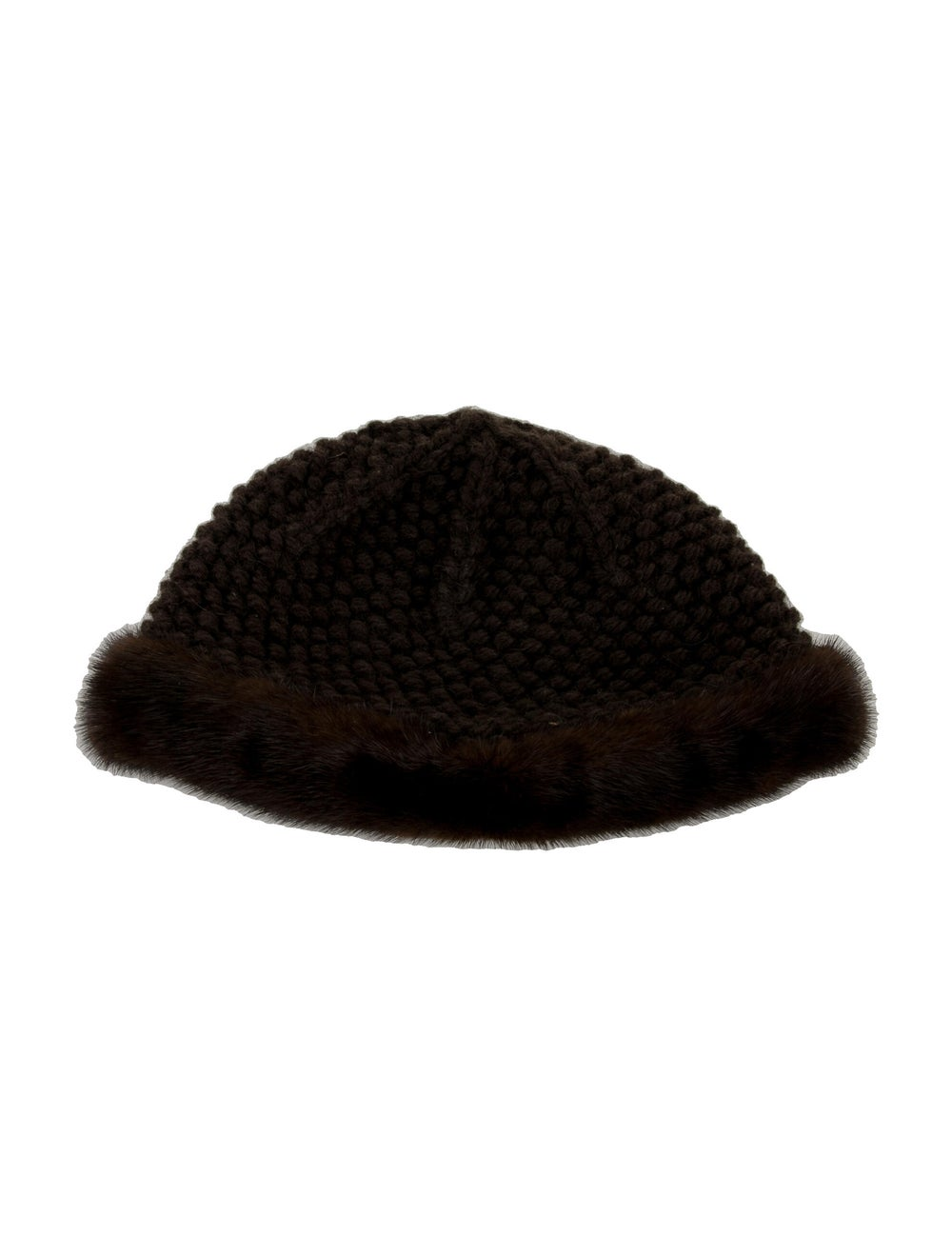 Patricia Underwood Knitted Mink Hat Brown - image 2