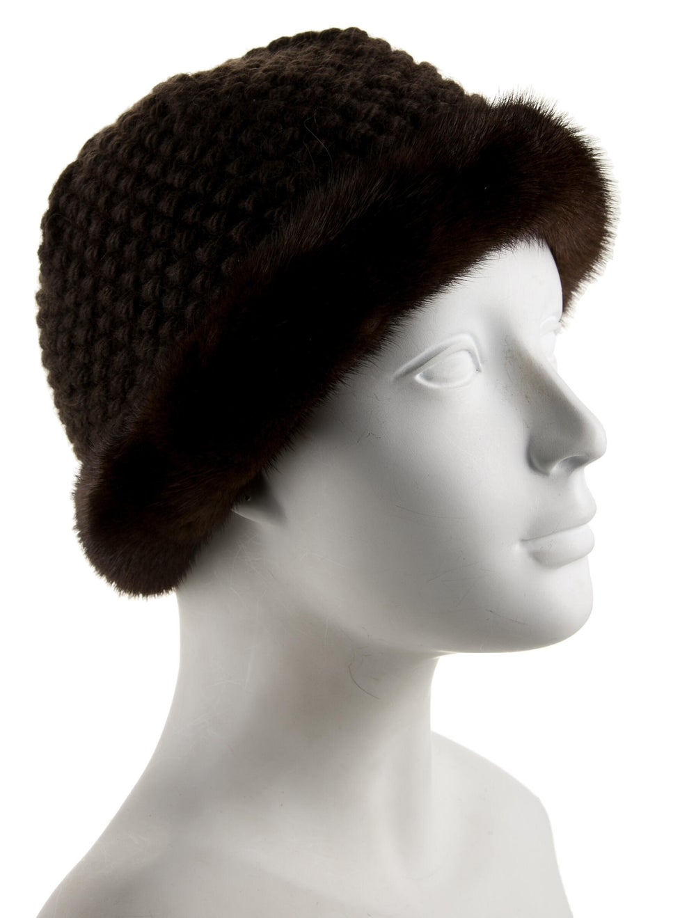 Patricia Underwood Knitted Mink Hat Brown - image 3