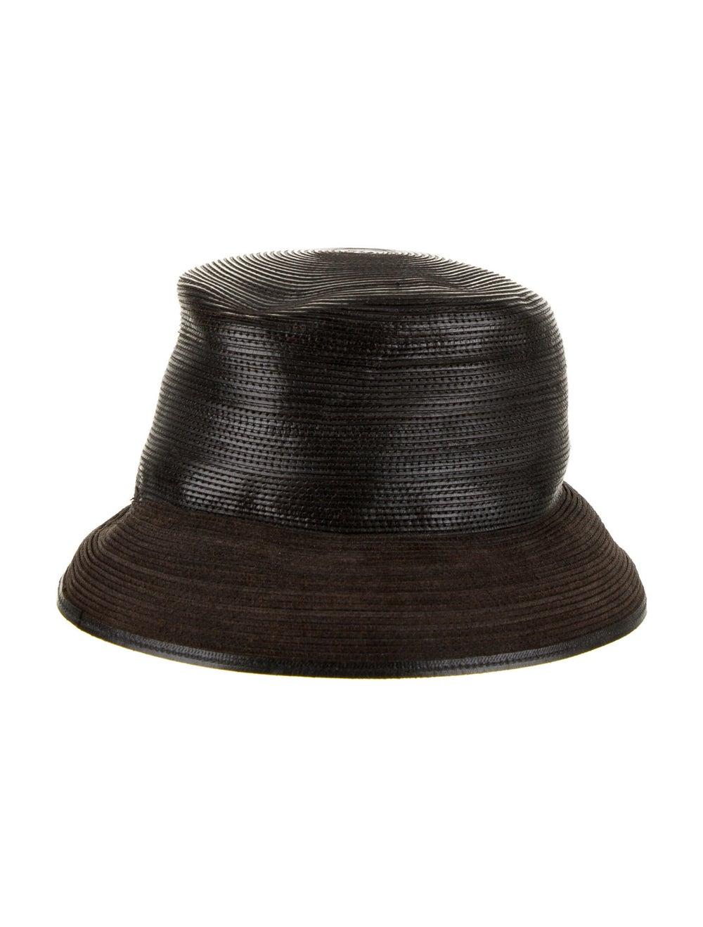 Patricia Underwood Leather Brim Hat Brown - image 2