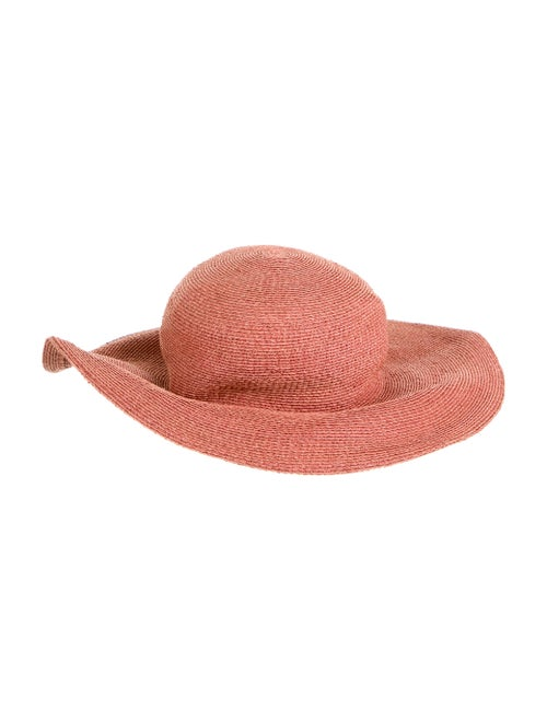 Patricia Underwood Raffia Wide-Brim Hat red