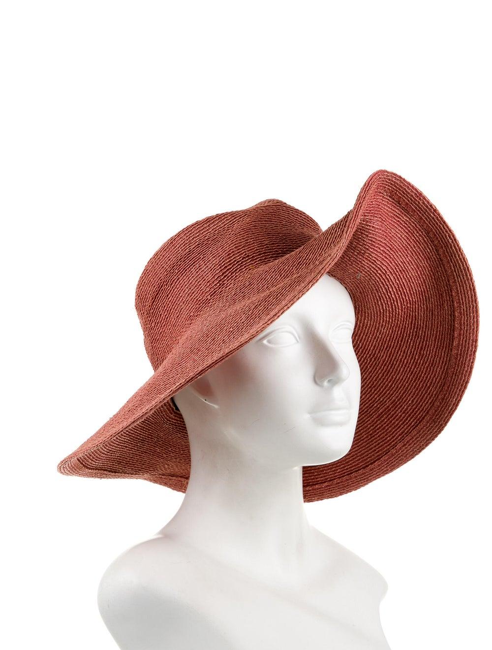 Patricia Underwood Raffia Wide-Brim Hat red - image 3