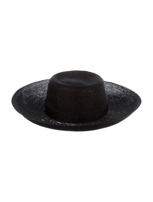 Patricia Underwood Wide-Brim Straw Hat Black