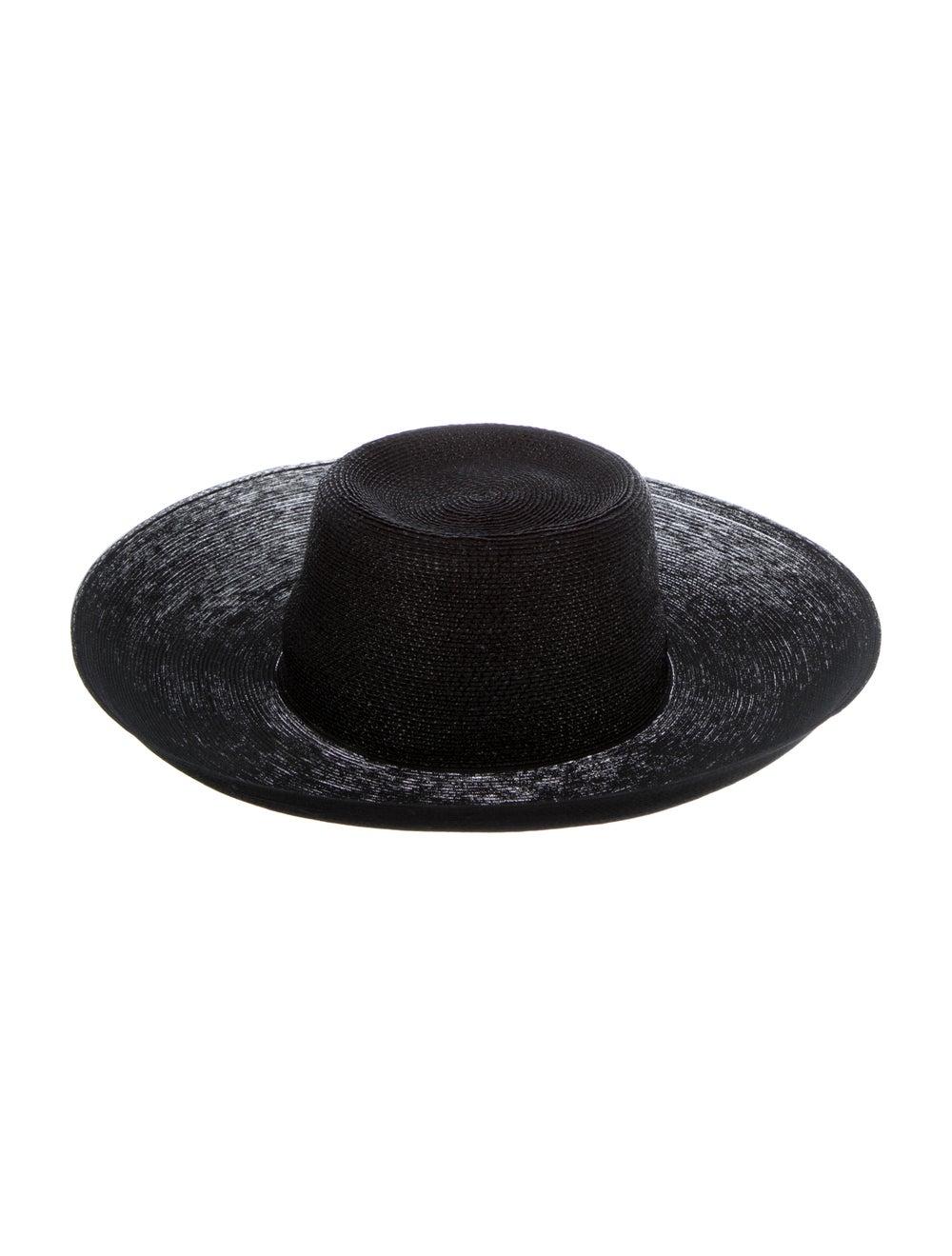 Patricia Underwood Wide-Brim Straw Hat Black - image 2