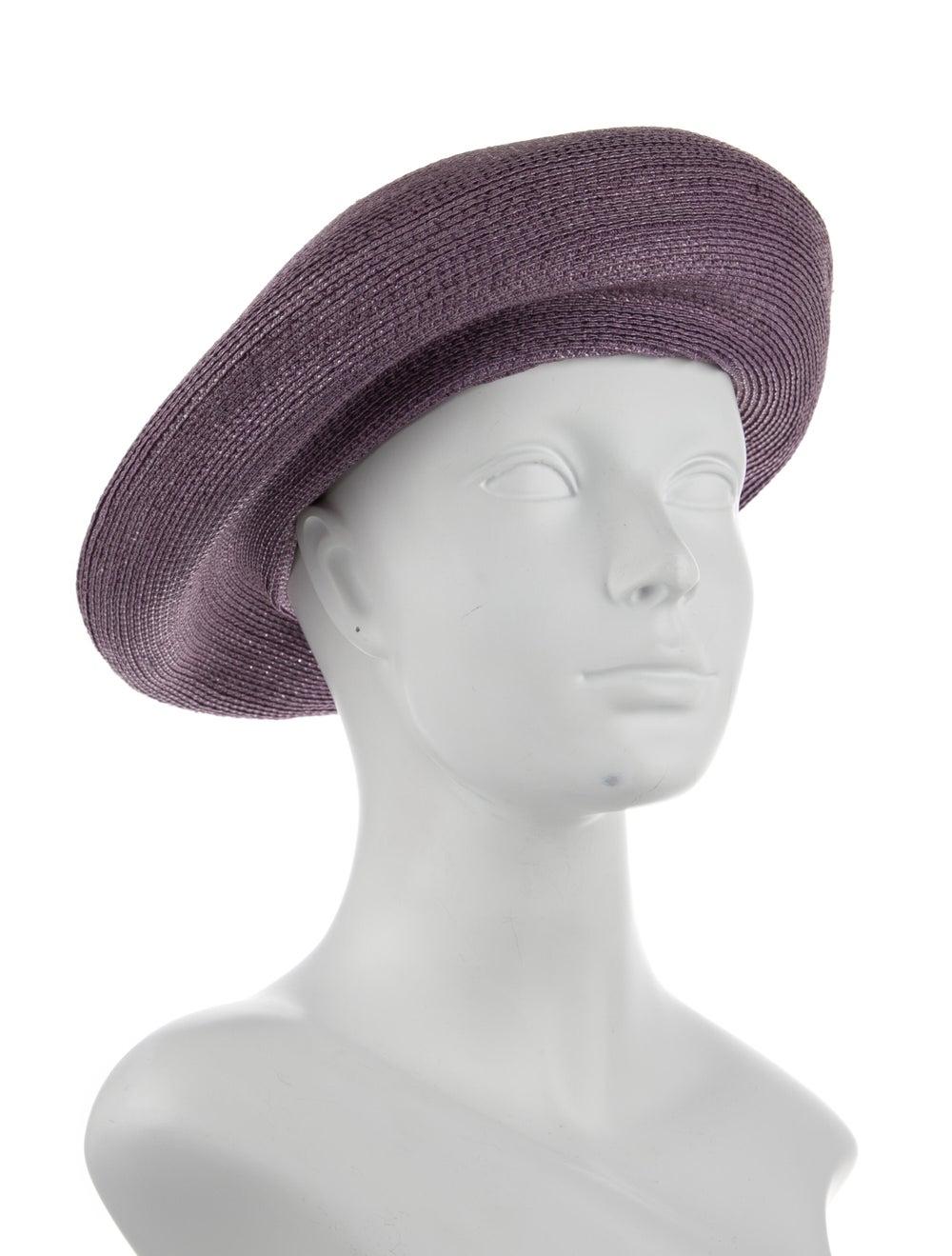 Patricia Underwood Straw Beret Purple - image 3