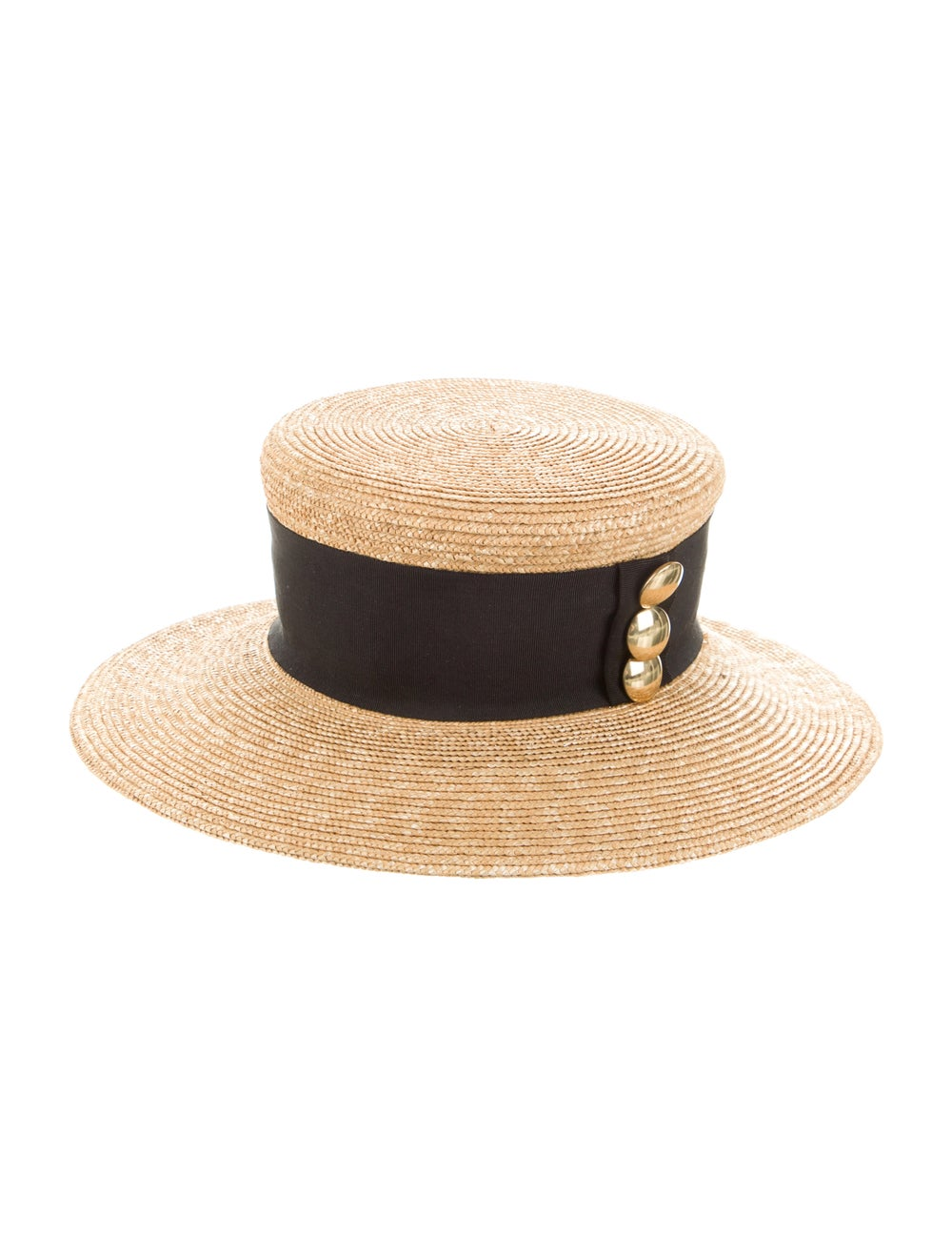 Patricia Underwood Raffia Wide Brim Fedora Hat Tan - image 1