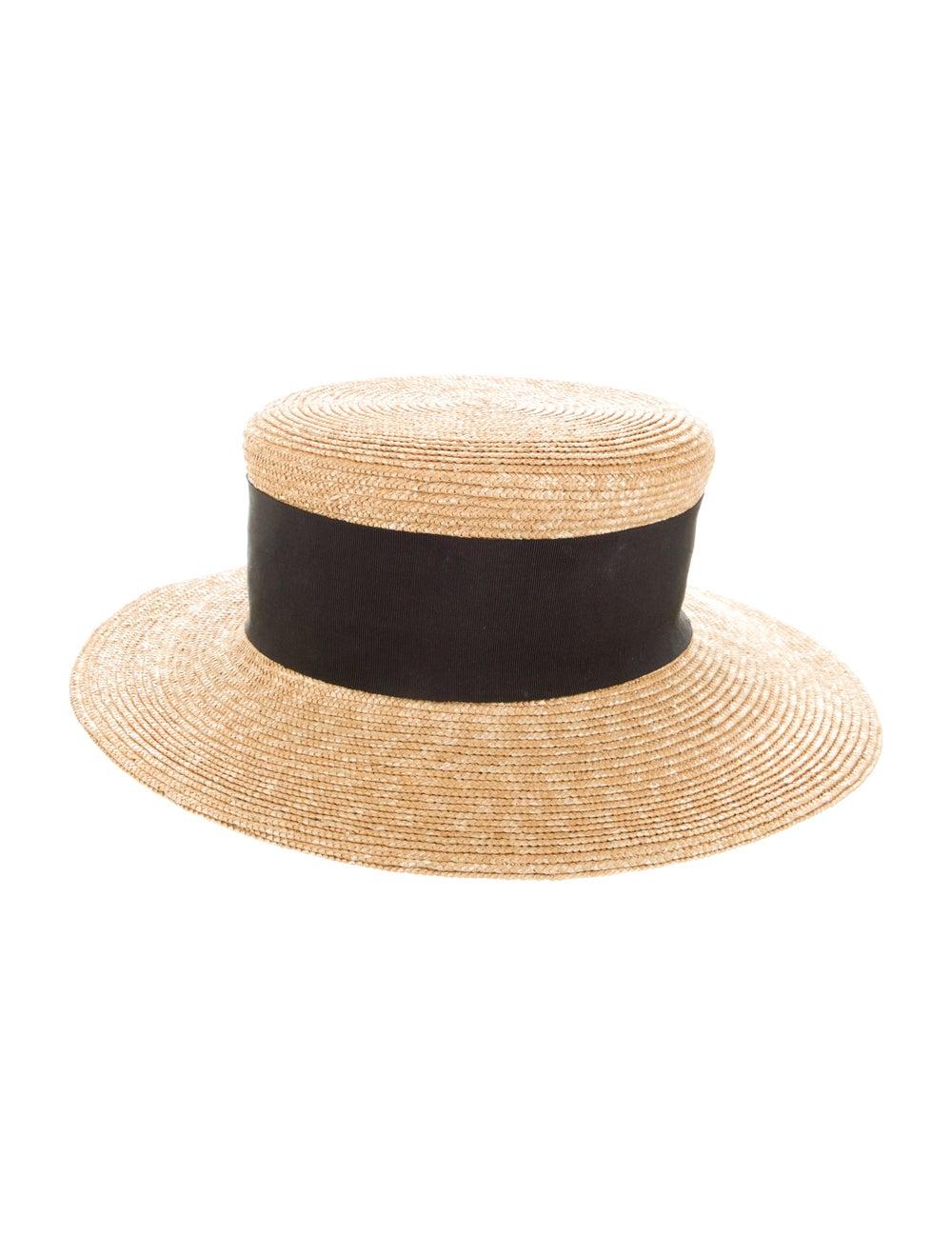 Patricia Underwood Raffia Wide Brim Fedora Hat Tan - image 2
