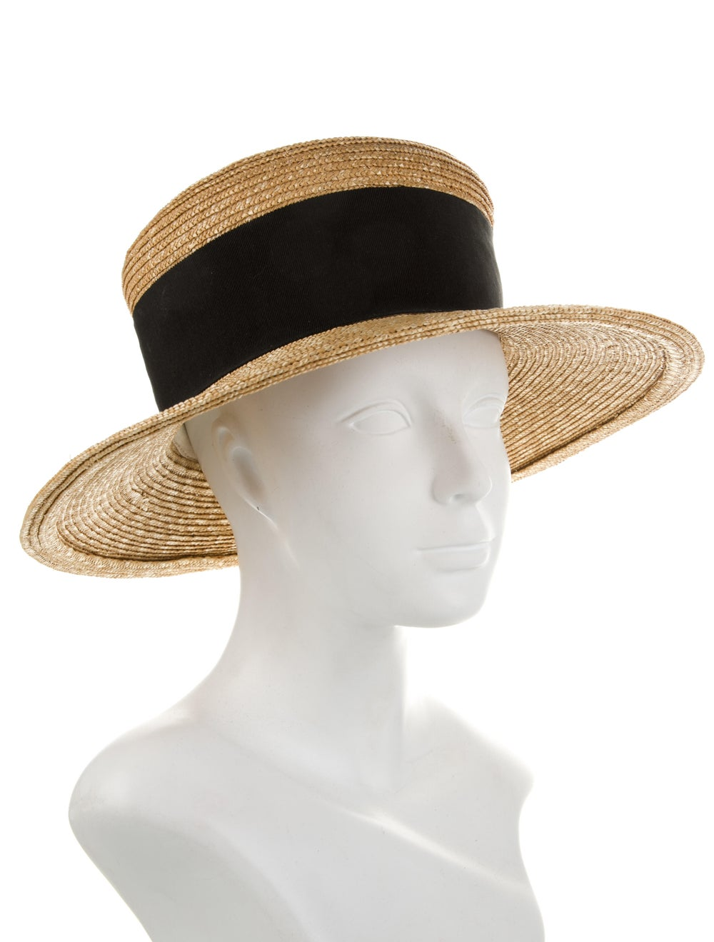 Patricia Underwood Raffia Wide Brim Fedora Hat Tan - image 3