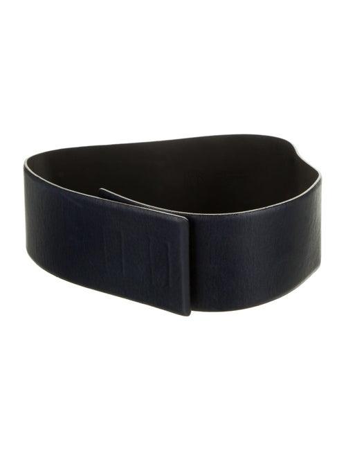 Plein Sud Leather Wide Waist Belt Navy