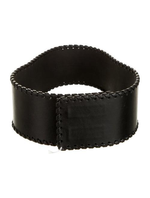 Plein Sud Leather Wide Waist Belt Black