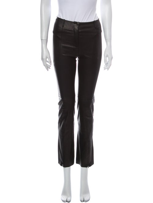 Plein Sud Leather Straight Leg Pants Black