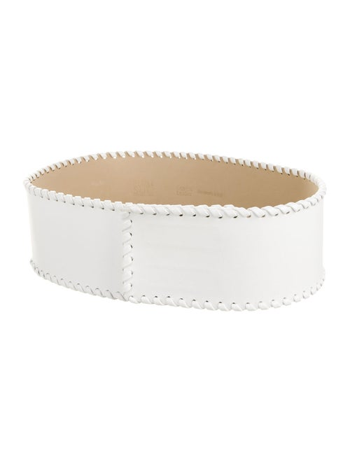 Plein Sud Leather Waist Belt White
