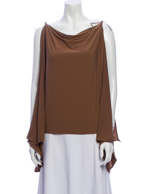 Plein Sud Cowl Neck Long Sleeve Blouse Brown