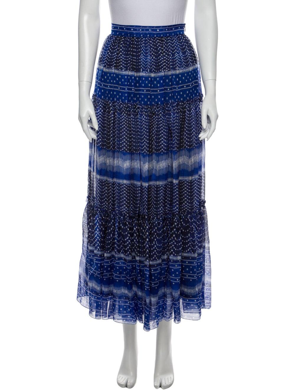 Plein Sud Printed Midi Length Skirt Blue - image 1