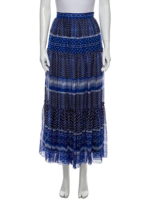 Plein Sud Printed Midi Length Skirt Blue