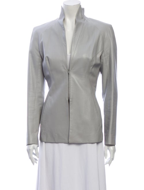 Plein Sud Leather Blazer Grey